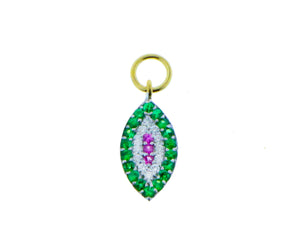 Yellow gold pendant with diamonds, pink sapphires and green garnet