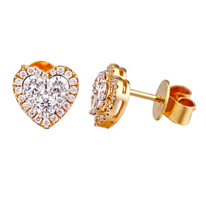 Diamond heart earstuds