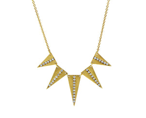 Yellow gold five point necklace with diamonds