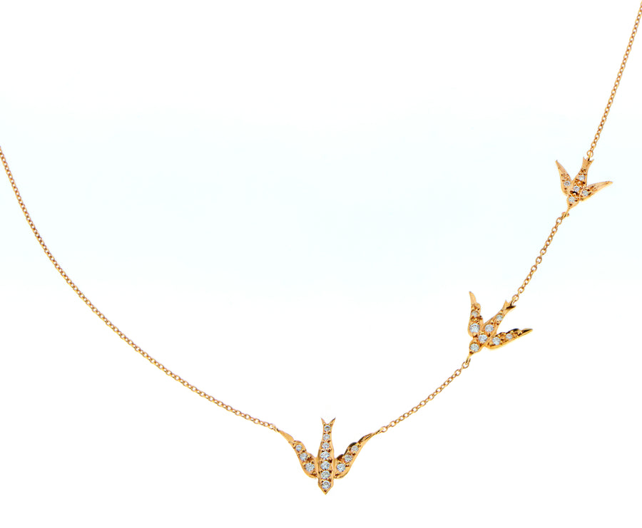 Necklace with 3 swallows set with diamonds