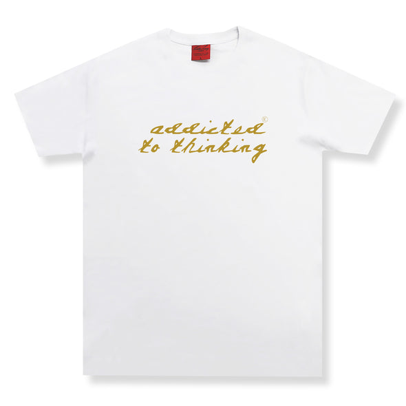 Addicted To Thinking SS Tee Organic Cotton Tees Kreative Living SM White