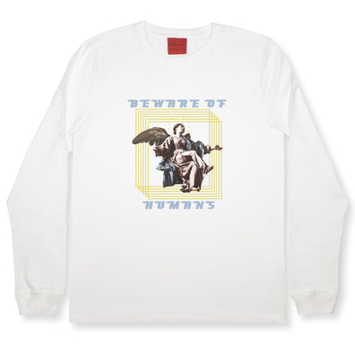 Beware Of Humans LS Tee sweaters Kreative Living SM White