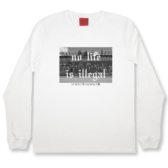 Life At The Border LS Tee Organic Cotton Tees Kreative Living SM White