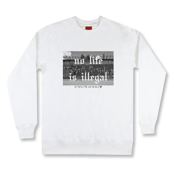 Life At The Border Sweatshirt sweaters Kreative Living SM White