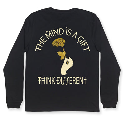 The Mind Is A Gift LS Tee Organic Cotton Tees Kreative Living SM Black