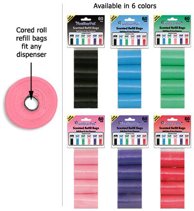 FiveStarPet Cored Roll Scented Refill Clean-up Bags