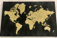 Black and Gold Glitter Wall Map