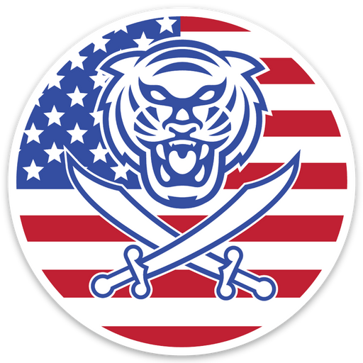Bengals & Bandits Round 3x3 Die Cut American Flag Decal