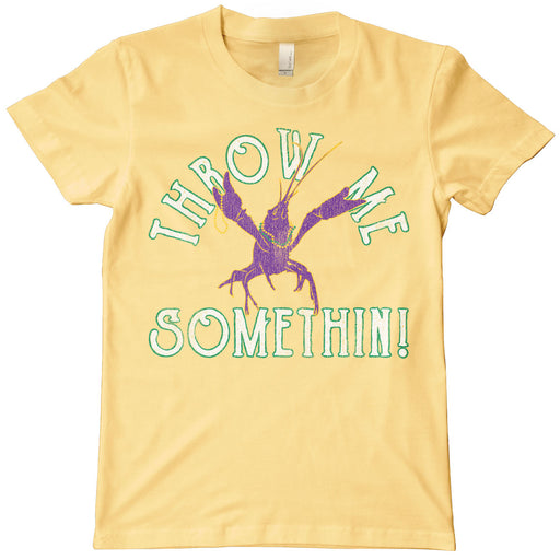 B&B Dry Goods Homegrown Louisiana Mardi Gras Throw Me Something Kids T-Shirt - Yellow