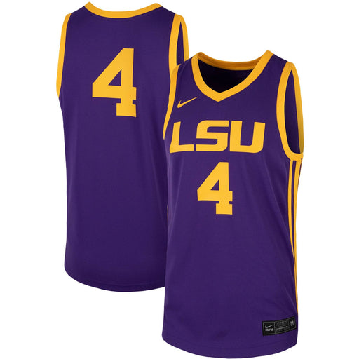 LSU Tigers Nike #4 Team Replica Basketball Jersey - Purple