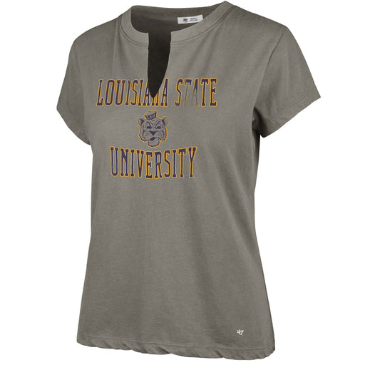 LSU Tigers 47 Brand Split V-Neck Gamma T-Shirt - Grey