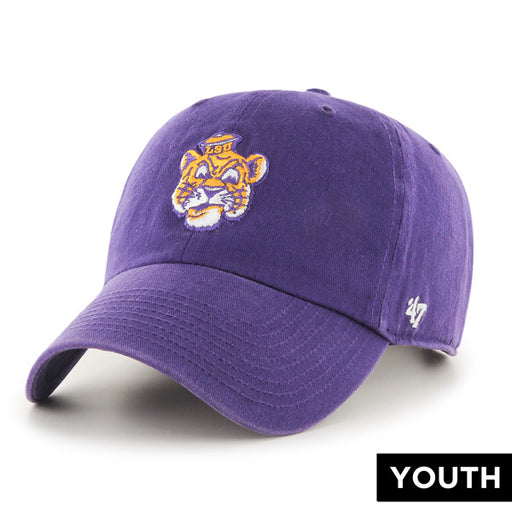 LSU Tigers 47 Brand Beanie Mike Clean Up Youth Adjustable Hat - Purple