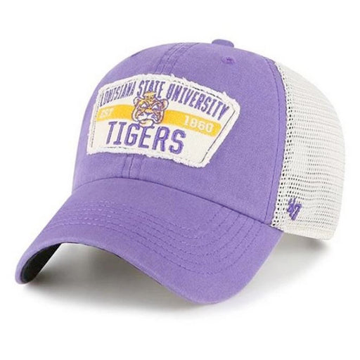 LSU Tigers 47 Brand Vault Beanie Mike Crawford Mesh Trucker Hat - Purple
