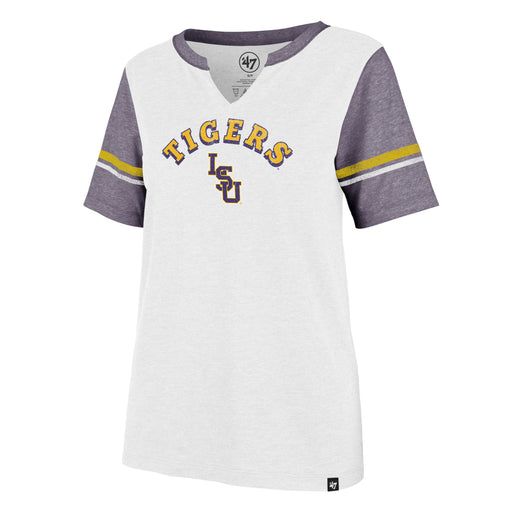 LSU Tigers 47 Brand Baseball Match Notch Women's V-Neck T-Shirt - White / Purple