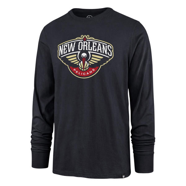 New Orleans Pelicans 47 Brand Super Rival Long Sleeve T-Shirt - Navy