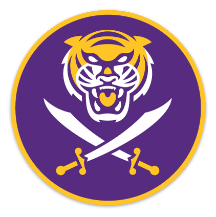 Bengals & Bandits Round 4x4 Die Cut Decal - Purple