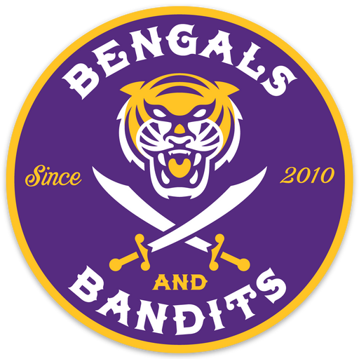 Bengals & Bandits Round 4x4 Die Cut Est Decal - Purple