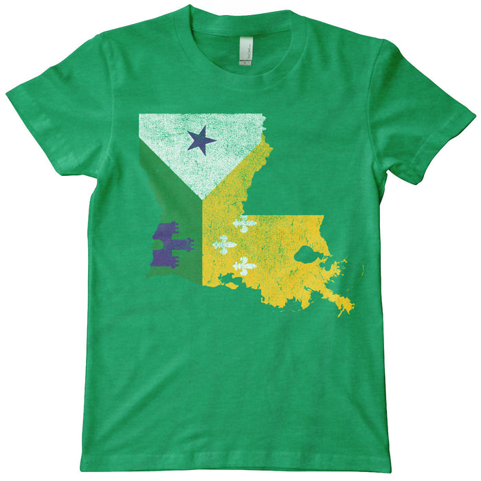 B&B Dry Goods Homegrown Louisiana Mardi Gras Acadiana Outline Kid's T-Shirt - Green