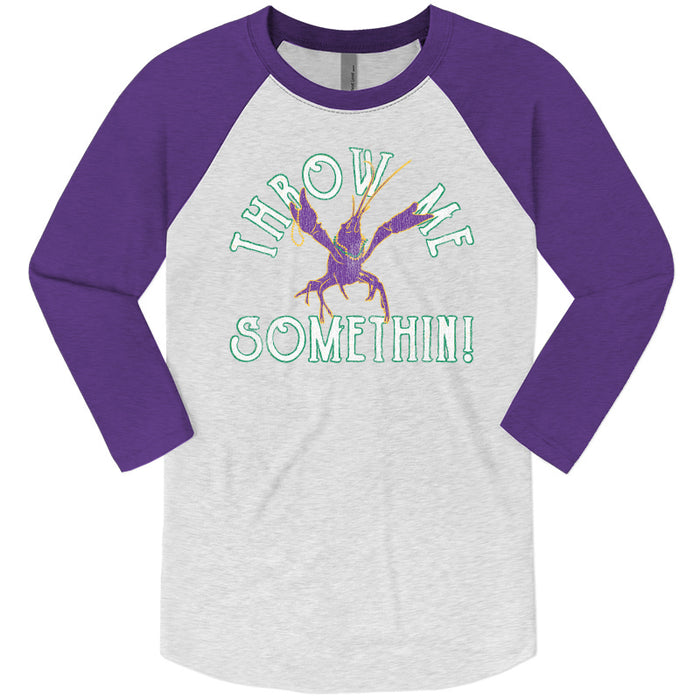 B&B Dry Goods Homegrown Louisiana Mardi Gras Throw Me Something Raglan - Purple