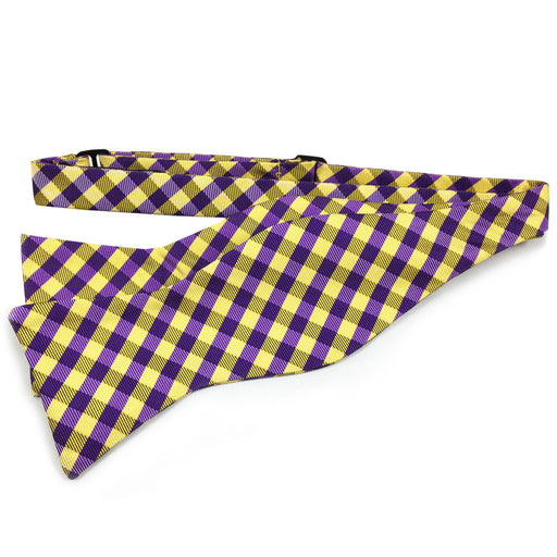 B&B Dry Goods Proper Gingham Woven Hand Tied Bow Tie - Purple / Gold
