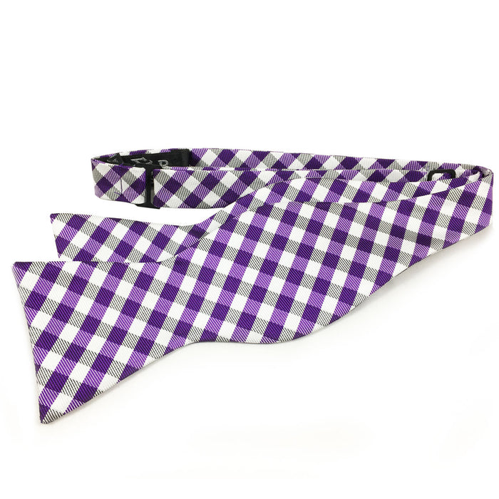 B&B Dry Goods Proper Gingham Woven Hand Tied Bow Tie - Purple / White