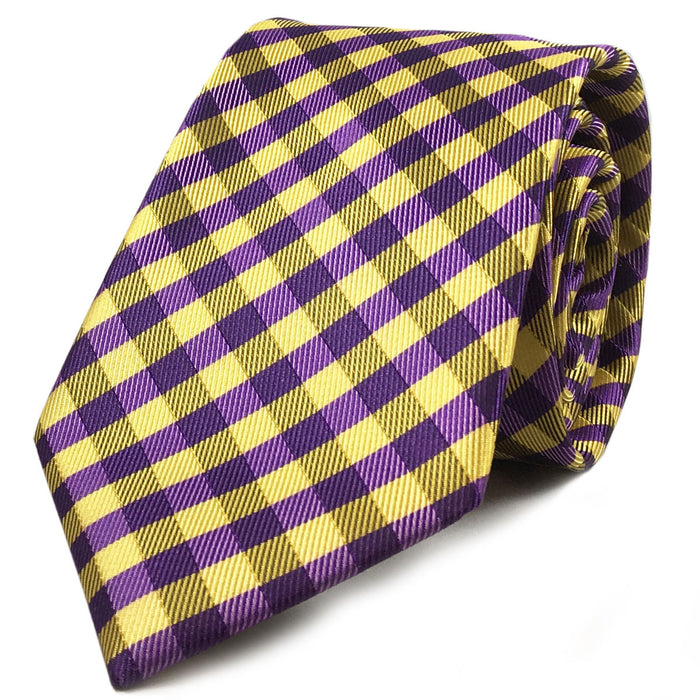 B&B Dry Goods Proper Gingham Woven Necktie - Purple / Gold
