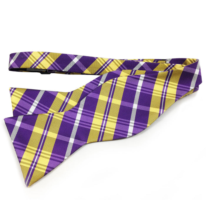 B&B Dry Goods Southern Plaid Woven Hand Tied Bow Tie - Purple / Gold