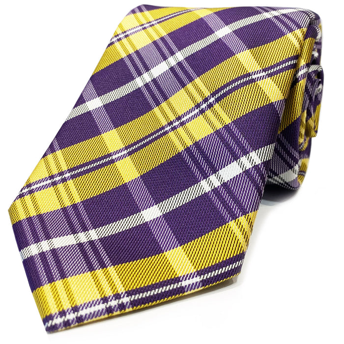 B&B Dry Goods Southern Plaid Woven Necktie - Purple / Gold