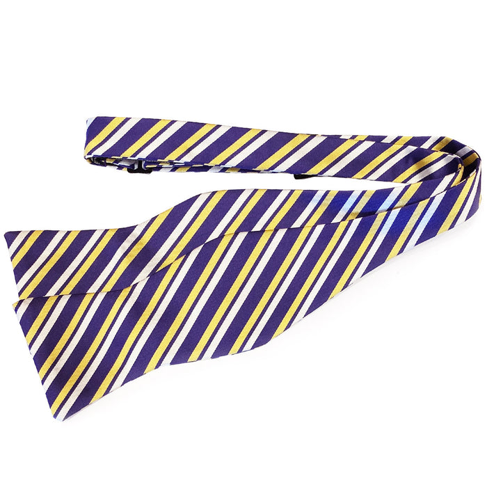 B&B Dry Goods Thin Stripe Hand Tied Bow Tie - Purple / Gold