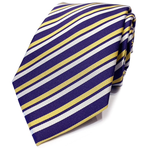 B&B Dry Goods Thin Stripe Woven Necktie - Purple / Gold