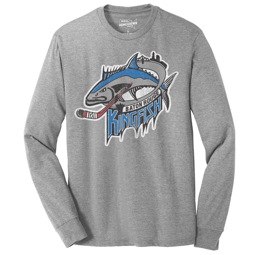 B&B Dry Goods Homegrown Louisiana Baton Rouge Kingfish Long Sleeve T-Shirt - Grey