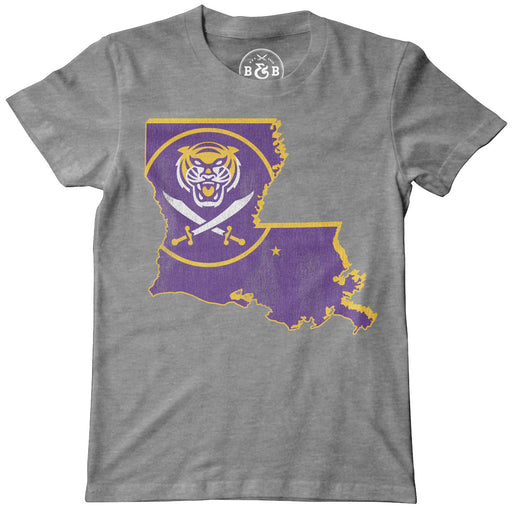 Bengals & Bandits Louisiana Outline Youth T-Shirt - Grey