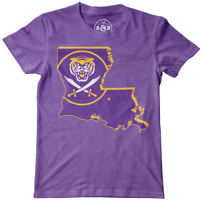 Bengals & Bandits Louisiana Outline Youth T-Shirt - Purple