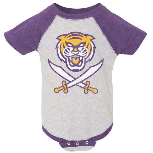 Bengals & Bandits Tri Color Infant Onesie - Purple Raglan
