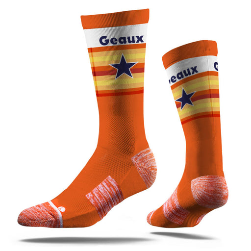 B&B Dry Goods Strideline Geaux Streauxs Star Crew Socks - Orange