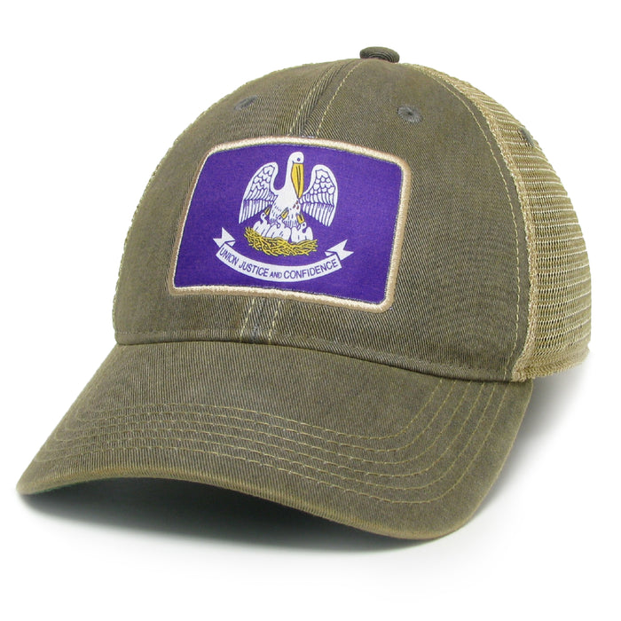 Homegrown Louisiana OFA Trucker Hat - Grey w/ Purple Flag