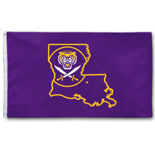 Bengals & Bandits Louisiana Outline 3' x 5' Flag - Purple