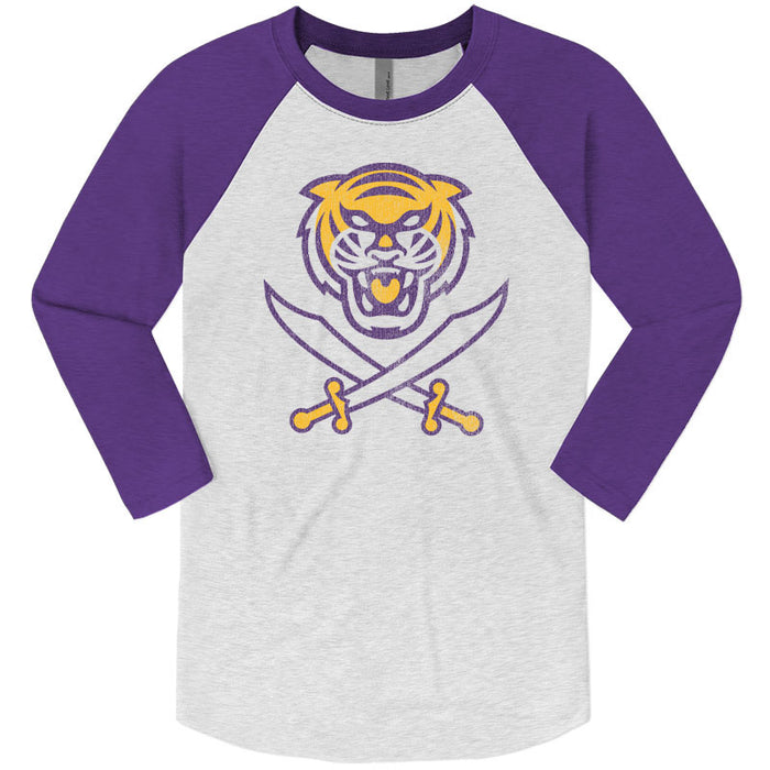 Bengals & Bandits Tri-Color Logo Tri-Blend 3/4 Sleeve Raglan - Purple
