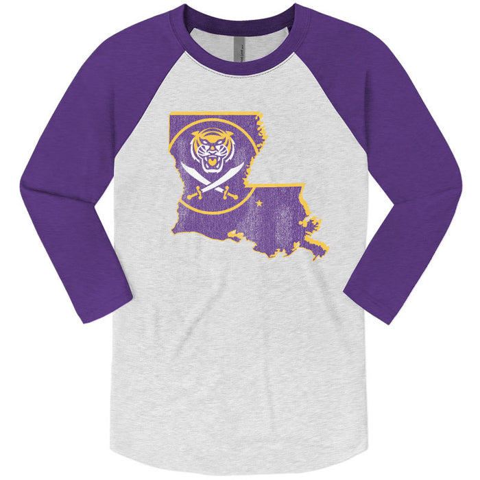 Bengals & Bandits Louisiana Outline Tri-Blend 3/4 Sleeve Raglan - Purple