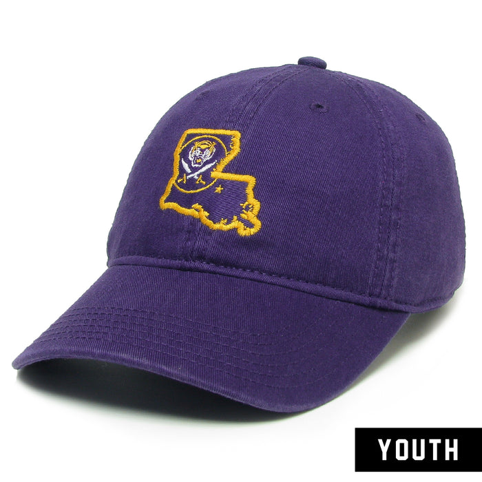 Bengals & Bandits Legacy Louisiana Outline Relaxed Twill Youth Hat - Purple