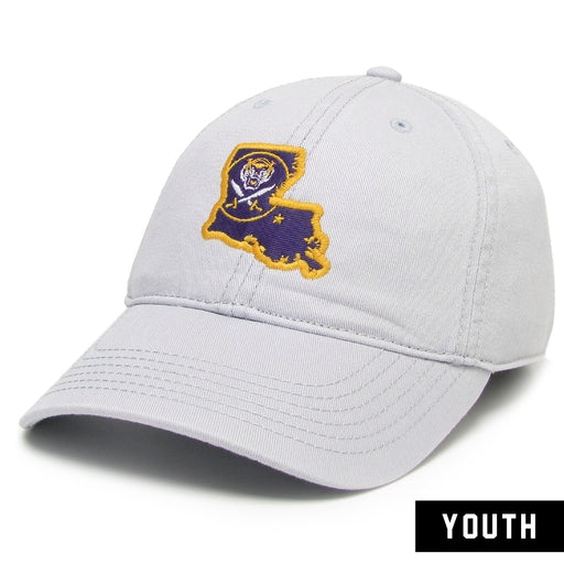 Bengals & Bandits Legacy Louisiana Outline Relaxed Twill Youth Hat - Silver