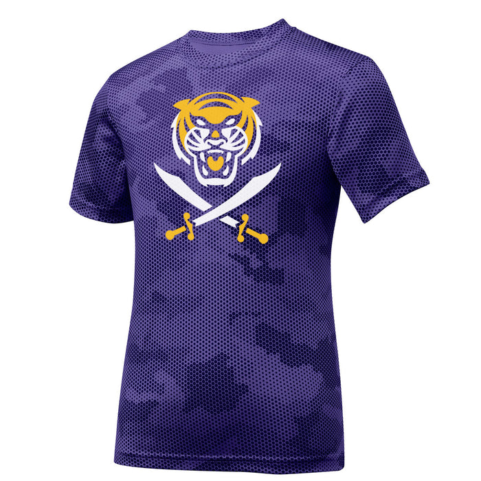 Bengals & Bandits CamoHex Youth Performance Short Sleeve T-Shirt - Purple
