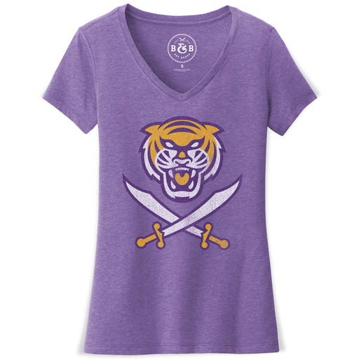 Bengals & Bandits Women's Tri-Color Logo V-Neck T-Shirt - Purple