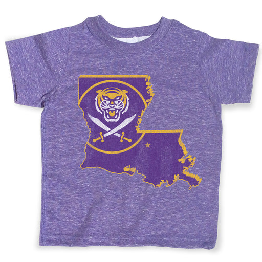 Bengals & Bandits Louisiana Outline Melange Toddler T-Shirt - Purple
