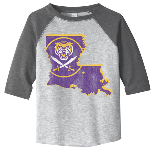 Bengals & Bandits Louisiana Outline Toddler 3/4 Sleeve Raglan - Black / Grey