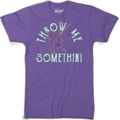 B&B Dry Goods Homegrown Louisiana Mardi Gras Throw Me Something T-Shirt - Purple