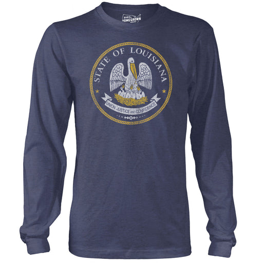 B&B Dry Goods Homegrown Louisiana Seal Long Sleeve T-Shirt - Navy