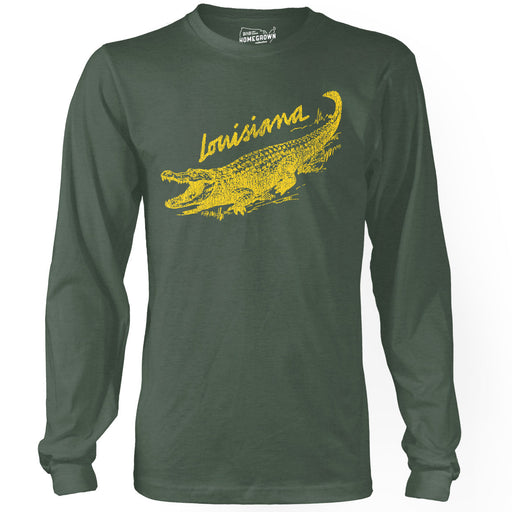 B&B Dry Goods Homegrown Louisiana Alligator Long Sleeve T-Shirt - Forest Green