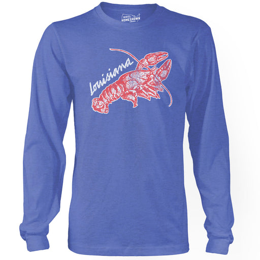 B&B Dry Goods Homegrown Louisiana Crawfish Long Sleeve T-Shirt - Royal Blue