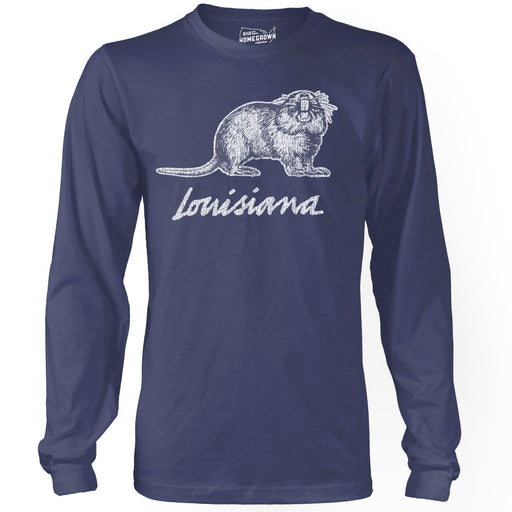 B&B Dry Goods Homegrown Louisiana Nutria Long Sleeve T-Shirt - Navy